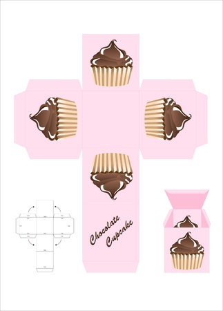 A template for a cupcake gift box. EPS10 vector format. Stock Vector - 10645663