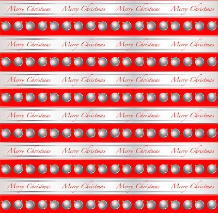 A Christmas wrapping paper or card design with silver baubles and ribbons against red. EPS10 vector format.