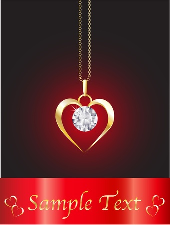 A diamond heart pendant on gold chain against red background. Space for your text. EPS10 vector format. Illustration