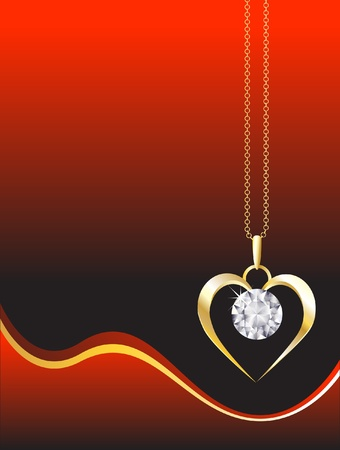 A diamond heart pendant on gold chain against red, abstrct background. Space for our text. EPS10 vector format. Illustration