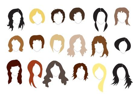 Varios cortes de pelo. Siluetas simples. EPS10 formato vectorial.