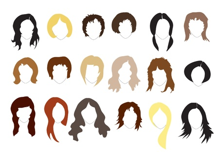 Various hairstyles. Simple silhouettes. EPS10 vector format.