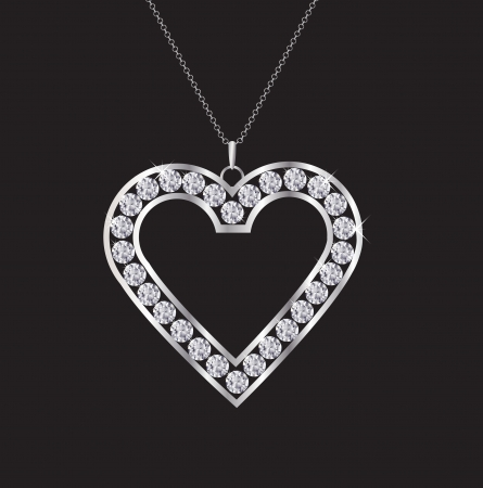 coeur diamant: Un collier coeur diamant isol� sur noir. EPS10 format vectoriel. Illustration