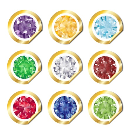 ruby stone: A collection of jewels on gold stickers. EPS10 vector format