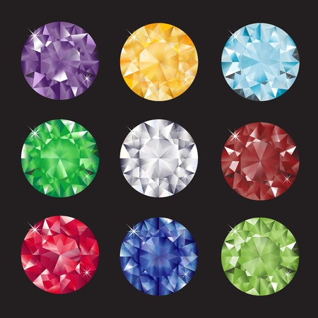 A set of brilliant cut gems on balck background. EPS10 vector format. Illustration