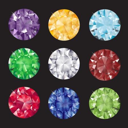 Un ensemble de gemmes taillées brillants sur fond Balck. EPS10 format vectoriel.
