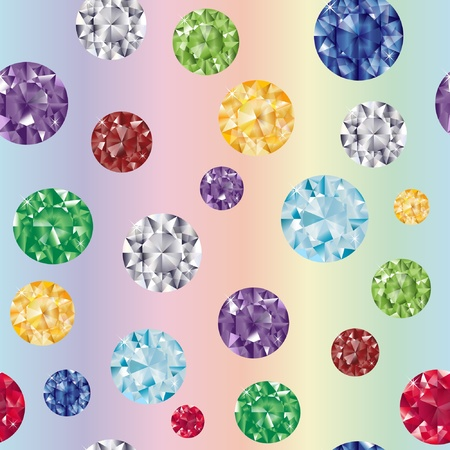 cuts: Gem stones on rainbow background. EPS10 vector format. Illustration