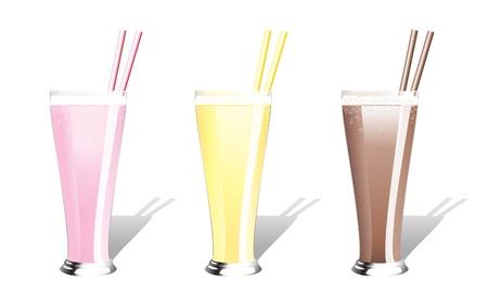 Strawberry, banana and chocolate milkshakes with straws. EPS10 vector format.