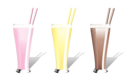 Strawberry, banana and chocolate milkshakes with straws. EPS10 vector format. Vector
