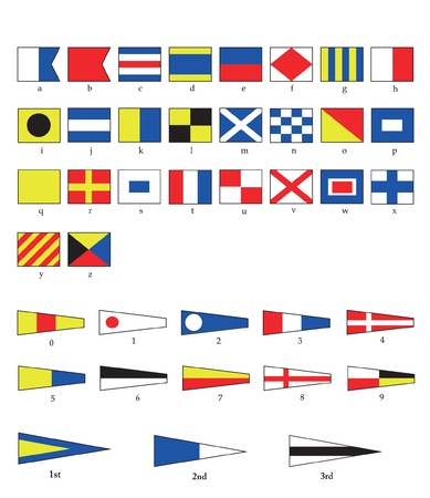 A complete set of Nautical flags for letters and numbers, including ordinal numbers. EPS10 vector format. Vector