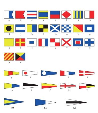 Ordinal: Eine komplette Reihe von nautischen f�r Buchstaben und Zahlen, einschlie�lich Ordnungszahlen. EPS10-Vektor-Format.