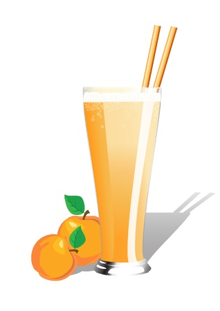 Peach smoothie  in tall glass with starws and fresh peaches. Also availabe in vector format Vector