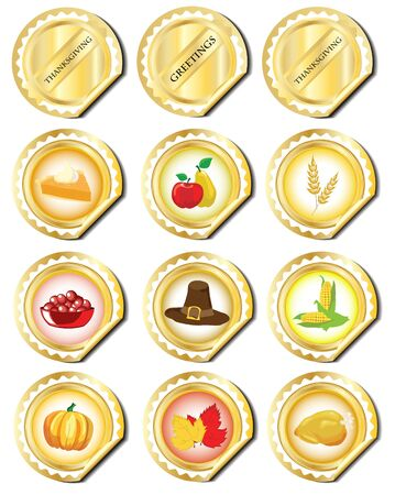 Gold stickers with Thanksgiving icons. EPS 10 vector.