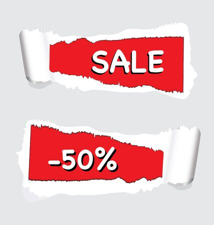 Torn paper with 'sale' and '-50%' for use in store promotions. EPS10 Stock Vector - 10645690