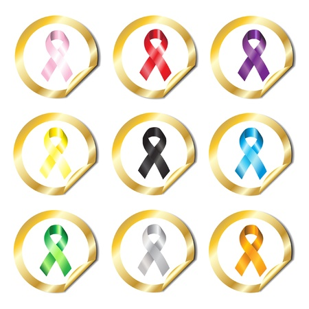 Gold stickers with awareness ribbons in various colours Stock Vector - 10695105
