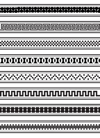repeat square: illustration of geometric border patterns in black and white