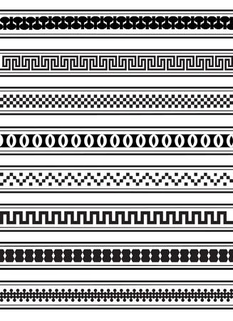 square detail: Ilustraci�n de patrones geom�tricos frontera en blanco y negro