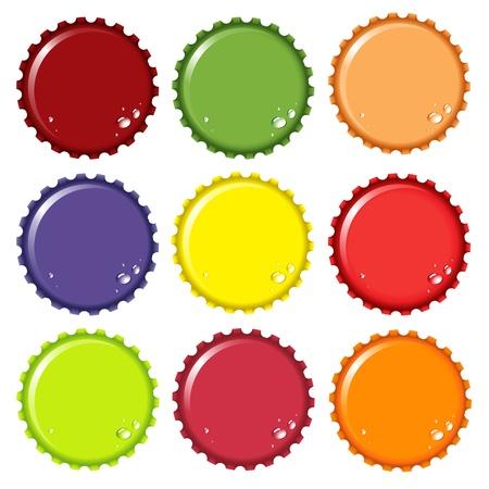 gaseosas: Ilustraci�n de tapas de botella metal en varios colores, con agua de condensaci�n gotas. Espacio para el texto