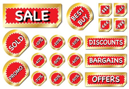 A bumper collection of promotioal stickes in red and gold Stock Vector - 10695118