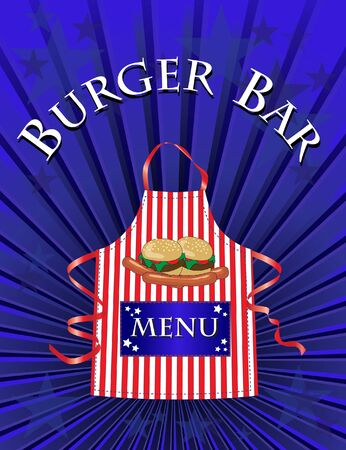 american food: A menu template for a Burger Bar