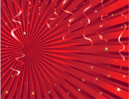 Christmas streamer background with space for text.  Vector