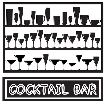 illustration for a cocktail bar poster with glass silhouettes, in black and white Vector
