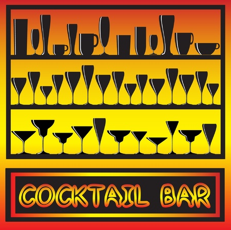 illustration for a cocktail bar poster with glass silhouettes Vector