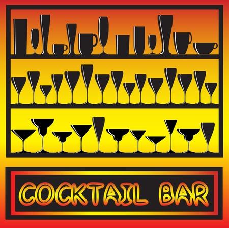 Ilustración de un cóctel bar cartel con siluetas de vidrio