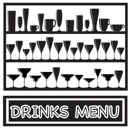 alcoholismo: Ilustraci�n de un men� de bebidas con siluetas de vidrio, en blanco y negro