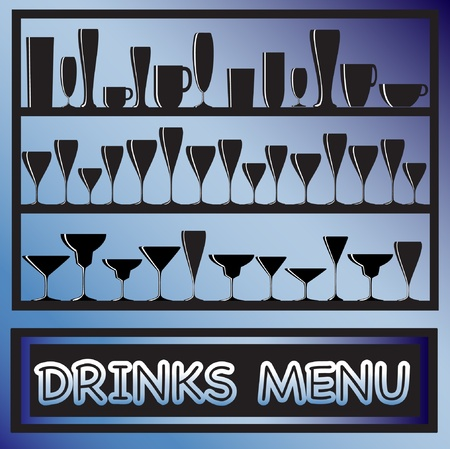 illustration for drinks menu with glass silhouettes Vector