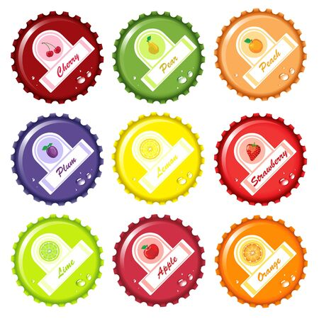 Fruit juice bottle caps with paper labels Vector
