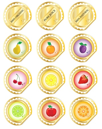 A set of stickers for fruit juices or jams.  Vector