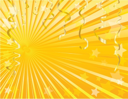 Gold streamers and star background with space for text. EPS10. Vector