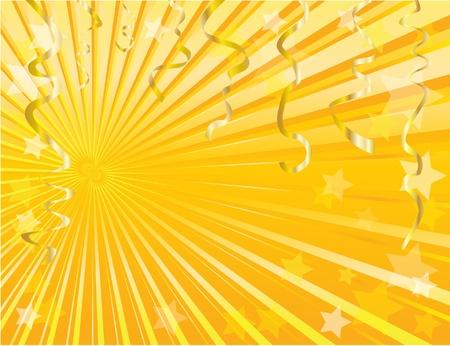 streamers: Serpentinas de oro y estrella fondo con espacio para el texto. EPS10.