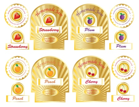 A set of gold jam labels for homemade jams and preserves.  Vector
