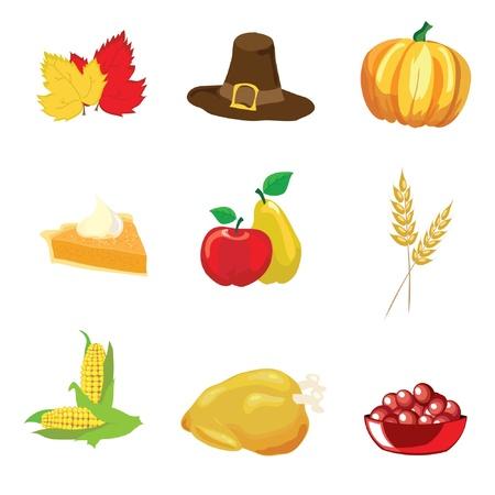 p�lerin: Illustration des �l�ments de Thanksgiving isol� sur fond blanc