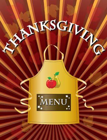A menu template for a Thanksgiving menu.  Vector