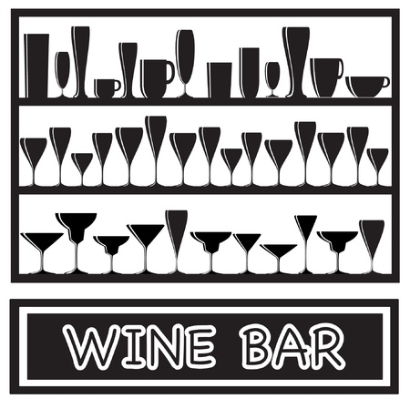 An illustration for a wine bar poster with glass silhouettes, in black and white Vector
