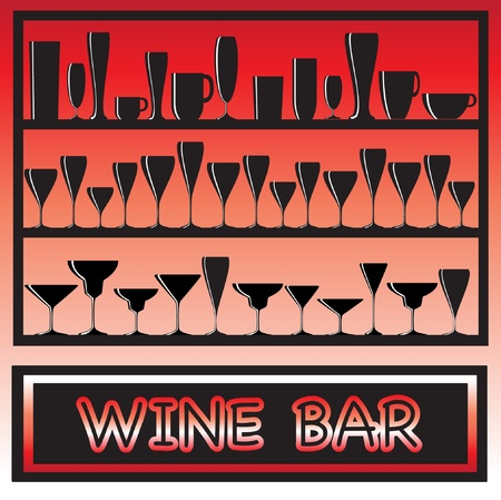 An illustration for a wine bar poster with glass sihouettes Vector