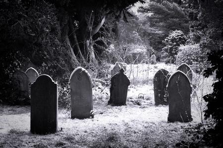 cementerios: L�pidas en la nieve en Negro y blanco Foto de archivo