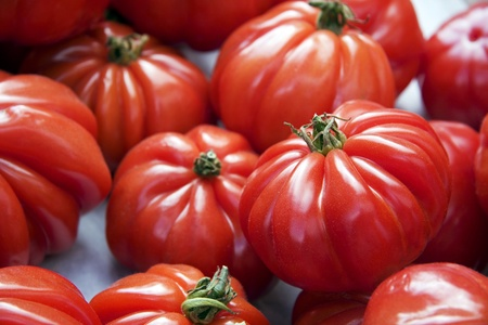 Fresh ripe tomatoes displayed for sale at a market Stock Photo - 10767173