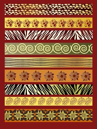 canvas print: Una ilustraci�n vectorial de tela africana en earthtones Vectores