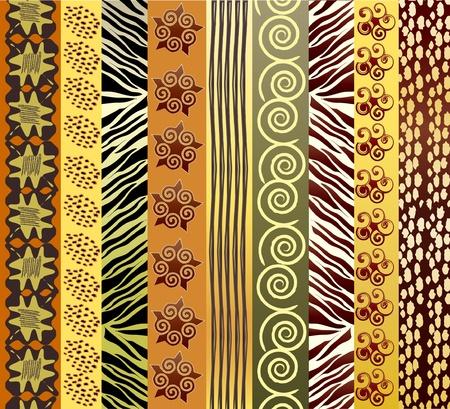 ilustraciones africanas: Una ilustración vectorial de tela africana en earthtones Vectores