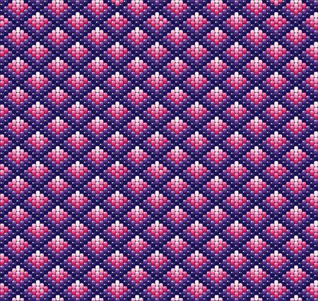 handicraft: A vector illustration of beadwork in shades of pink and purple. Ethnic design. Illustration