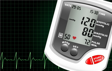 blood pressure monitor: A digital blood pressure monitor against a computer screen showing heartbeat. Space for text