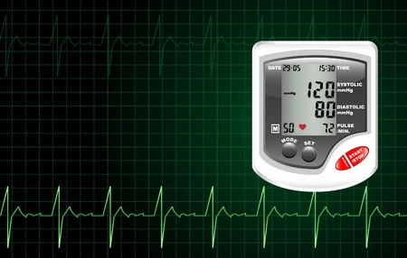 hypertension: A digital blood pressure monitor against a computer screen showing heartbeat.