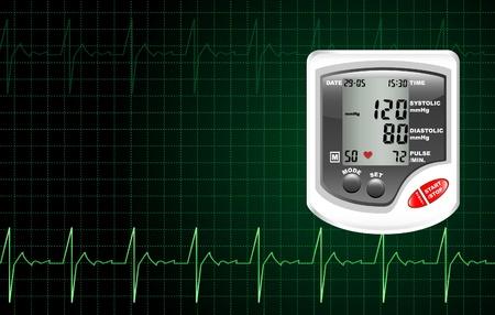 Een digitale bloeddrukmeter tegen een computer scherm met hartslag.