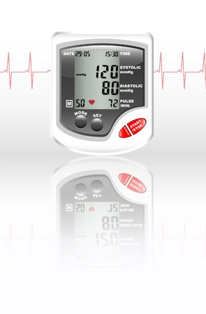 A digital blood pressure monitor against white with reflection on shiny surface. Heartbeat shown in red. Vector