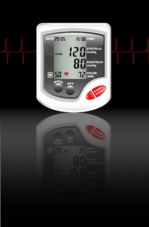 A digital blood pressure monitor against black with reflection on shiny surface. Heartbeat shown in red. Stock Vector - 10767191