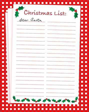 message pad: A vector illustration of a Dear Santa blank Christmas list on festive background. Space for text.